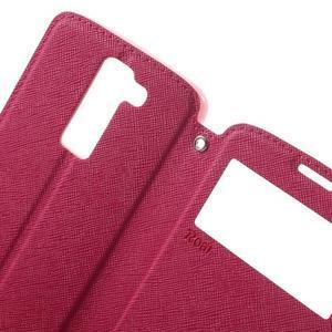 Diary PU kožené pouzdro s okýnkem na LG K8 - rose - 5