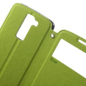 Diary PU kožené puzdro s okienkom na LG K8 - zelené - 5
