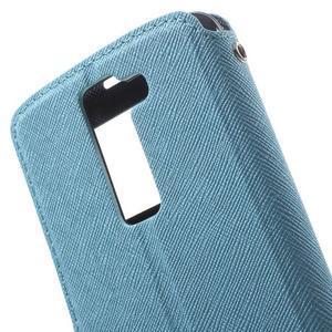 Diary PU kožené puzdro s okienkom na LG K8 - svetlomodré - 5