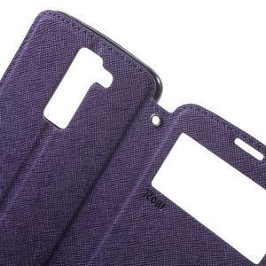 Diary PU kožené puzdro s okienkom na LG K8 - fialové - 5