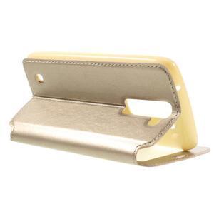 Richi PU kožené puzdro pre mobil LG K8 - zlaté - 5