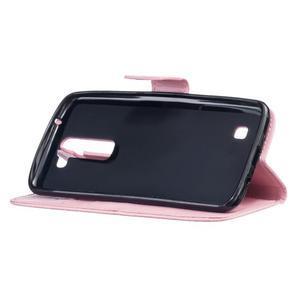 Dandelion PU kožené puzdro pre mobil LG K8 - ružové - 5