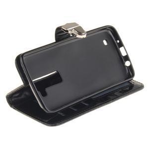 Luxusní PU kožené pouzdro s přezkou na LG K8 - černé - 5