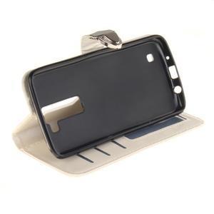 Luxusní PU kožené puzdro s přezkou na LG K8 - biele - 5