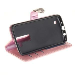 Luxusní PU kožené pouzdro s přezkou na LG K8 - růžové - 5