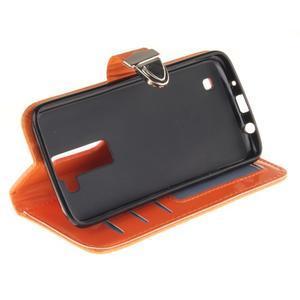 Luxusní PU kožené puzdro s přezkou na LG K8 - oranžové - 5