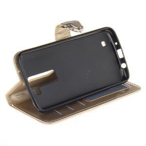 Luxusní PU kožené pouzdro s přezkou na LG K8 - champagne - 5