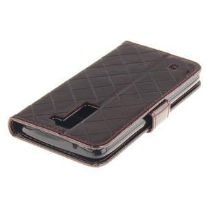 Luxusní PU kožené puzdro s přezkou na LG K8 - hnedé - 5