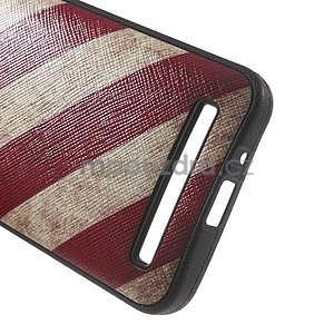 Gélový obal s imitáciou vrúbkované kože na Asus Zenfone 2 ZE500CL - vlajka USA - 5