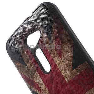 Gélový obal s imitáciou vrúbkované kože na Asus Zenfone 2 ZE500CL - vlajka UK - 5