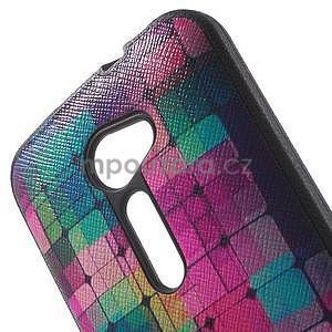 Gélový obal s imitáciou vrúbkované kože na Asus Zenfone 2 ZE500CL - mozaika farieb - 5