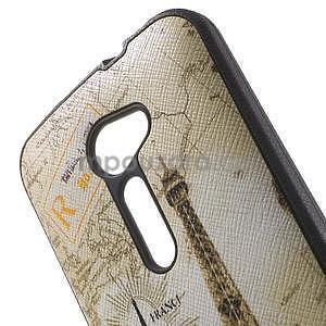 Gélový obal s imitáciou vrúbkované kože na Asus Zenfone 2 ZE500CL - Eiffelova veža - 5