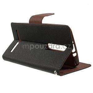 Zapínacie PU kožené puzdro na Asus Zenfone 2 ZE551ML - čierne/hnedé - 5