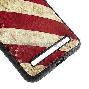 Gélový kryt s imitáciou vrúbkované kože pre Asus Zenfone 2 ZE551ML -  vlajka USA - 5