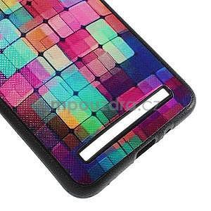 Gélový kryt s imitáciou vrúbkované kože pre Asus Zenfone 2 ZE551ML -  mozaika farieb - 5