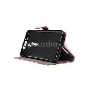 Ružové peňaženkové látkove / PU kožené puzdro pre Asus Zenfone 2 ZE551ML - 5