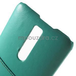 Azúrový PU kožený/plastový kryt na Asus Zenfone 2 ZE551ML - 5