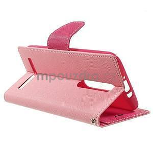 Zapínacie PU kožené puzdro na Asus Zenfone 2 ZE551ML - ružové - 5