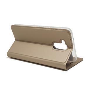 Magnetic PU kožené puzdro na Honor 6C - zlaté - 5