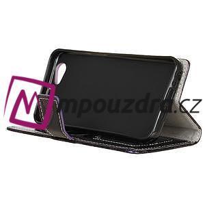 SnakeŠtýle PU kožené peňaženkové puzdro pre HTC One A9s - fialové - 5