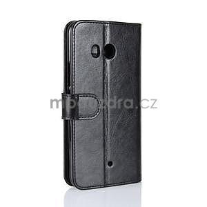 Crazy PU kožené peňaženkové puzdro na mobil HTC U11 - čierne - 5