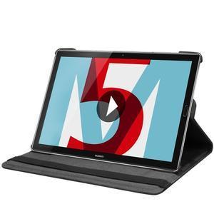 Litchi PU kožené puzdro na Huawei MediaPad M5 10 - čierne - 5