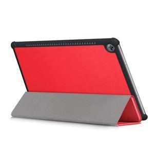 Trifold PU kožené polohovateľné puzdro na Huawei MediaPad M5 10 - červené - 5