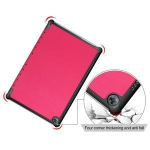 Trifold PU kožené polohovateľné puzdro na Huawei MediaPad M5 10 - rose - 5
