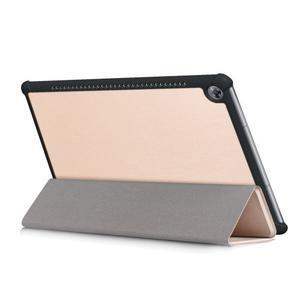 Trifold PU kožené polohovateľné puzdro na Huawei MediaPad M5 10 - zlaté - 5