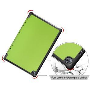 Trifold PU kožené polohovateľné puzdro na Huawei MediaPad M5 10 - zelené - 5