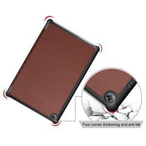 Trifold PU kožené polohovateľné puzdro na Huawei MediaPad M5 10 - hnedé - 5