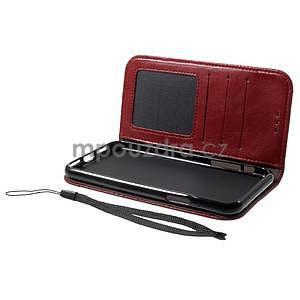 Retro style PU kožené puzdro na mobil iPhone X - červené - 5