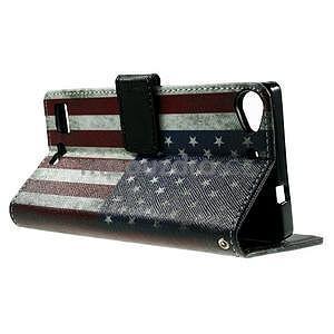 Peňaženkové PU kožené puzdro Lenovo Vibe X2 - USA vlajka - 5