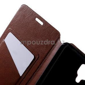 Peňaženkové kožené puzdro na Lenovo A536 - hnedé - 5