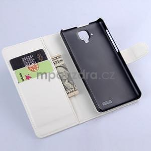 Elegantné kožené puzdro na mobil Lenovo A536 - biele - 5