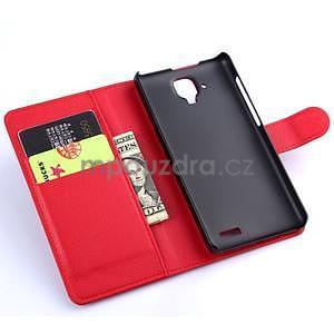 Elegantné kožené puzdro na mobil Lenovo A536 - červené - 5