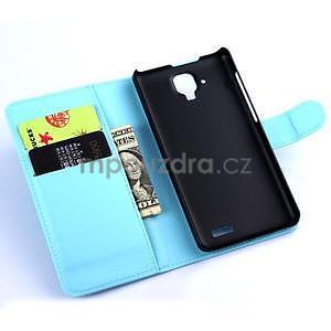 Elegantné kožené puzdro na mobil Lenovo A536 - svetlo modré - 5