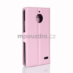 Grain PU kožené puzdro pre mobil Lenovo Moto E4 - ružové - 5