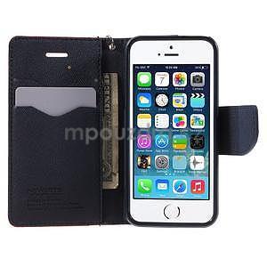 Dvojfarebné peňaženkové puzdro na iPhone 5 a 5s - červené/tmavomodre - 5