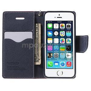 Dvojfarebné peňaženkové puzdro na iPhone 5 a 5s - rose/ tmavomodré - 5