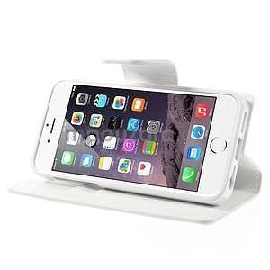 Peňaženkové koženkové puzdro na iPhone 5s a iPhone 5 - biele - 5