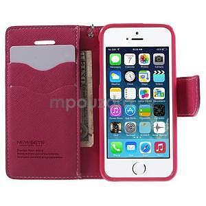 Dvojfarebné peňaženkové puzdro pre iPhone 5 a 5s - ružové/rose - 5