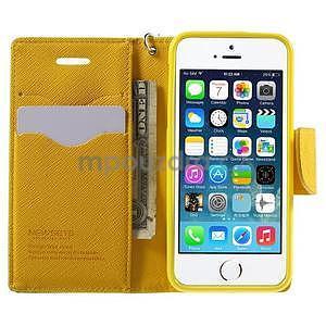 Dvojfarebné peňaženkové puzdro na iPhone 5 a 5s - zelené/ žlté - 5