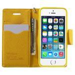 Dvojfarebné peňaženkové puzdro na iPhone 5 a 5s - zelené/ žlté - 5/7