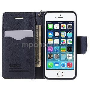 Dvojfarebné peňaženkové puzdro na iPhone 5 a 5s - zelené/ tmavomodré - 5