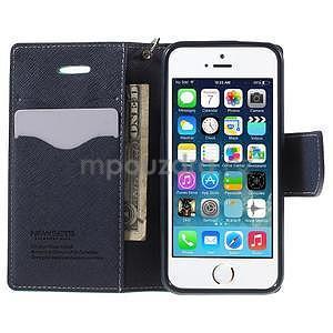 Dvojfarebné peňaženkové puzdro pre iPhone 5 a 5s - azurové/ tmavomodré - 5