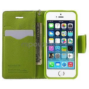 Dvojfarebné peňaženkové puzdro na iPhone 5 a 5s - tmavomodre/zelené - 5