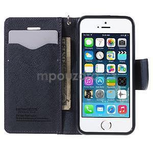Dvojfarebné peňaženkové puzdro na iPhone 5 a 5s - fialové/tmavomodré - 5