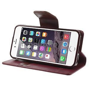 Peňaženkové koženkové puzdro na iPhone 5s a iPhone 5 -  vínové - 5