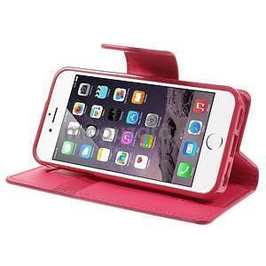 Peňaženkové koženkové puzdro na iPhone 5s a iPhone 5 -  rose - 5
